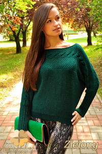 CM0154 Luźny kobiecy sweter kimono nietoperz warkocz - zielony - 2832069900