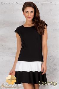 CM1686 Dwukolorowa sukienka mini bez rękawów - czarna - 2832075564