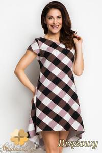 CM1734 Asymetryczna sukienka mini w kratę - brązowa - 2832075693