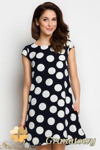 CM1735 Rozkloszowana sukienka mini w kropki - granatowa - 2832075695
