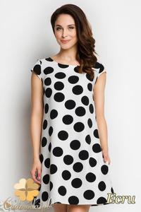 CM1735 Rozkloszowana sukienka mini w kropki - ecru - 2832075696