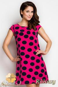 CM1735 Rozkloszowana sukienka mini w kropki - różowa - 2832075697