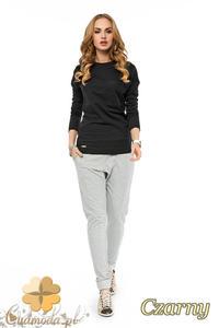 CM1748 Elegancka bluzka damska z kieszonką na piersi - czarna - 2832075730
