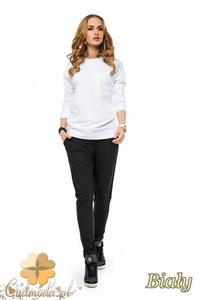 CM1748 Elegancka bluzka damska z kieszonką na piersi - biała - 2832075732