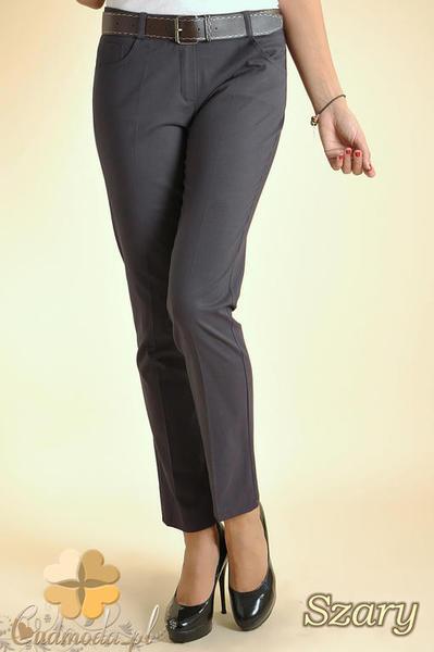 724477d05ec0e9 CM0153 Eleganckie damskie proste spodnie na kant - szare. Powiększ zdjęcie