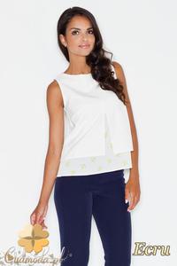 CM1774 Luźna bluzka na lato z modnym wzorem - ecru - 2832075799