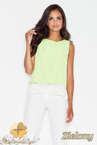 CM1774 Luźna bluzka na lato z modnym wzorem - zielona - 2832075800