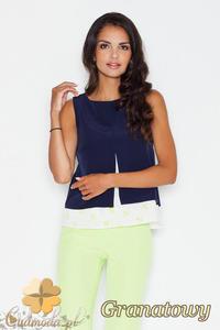 CM1774 Luźna bluzka na lato z modnym wzorem - granatowa - 2832075801