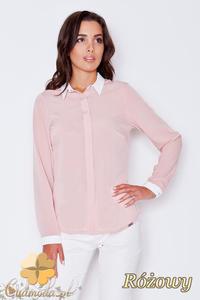 CM1786 Stylowa koszula damska z białymi mankietami - różowa - 2832075827