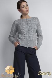 CM1798 Klasyczny sweter damski zapinany na guziki - szary - 2832075910