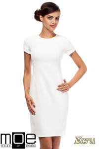 CM1800 Klasyczna gładka sukienka wieczorowa - ecru - 2832075949