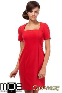 a88aba00ed CM1872 Dopasowana sukienka z dekoltem karo - czerwona - 2832075973