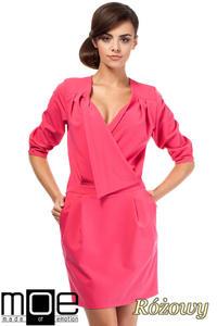 CM1874 Kopertowa sukienka mini z zakładką - różowa - 2832075980