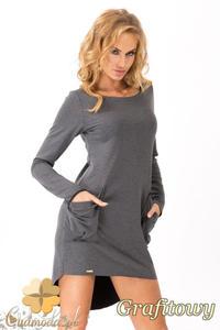 CM1352 Dresowa sukienka damska z kieszeniami - grafitowa OUTLET - 2832076194