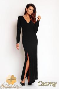d98db25c5e CM1972 Stylowa dopasowana sukienka wieczorowa z rozcięciem - czarna -  2832076230