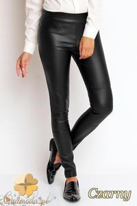 CM1975 Elastyczne skórzane spodnie rurki - czarne