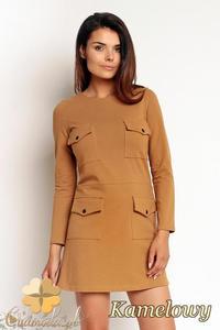 CM1987 Dresowa sukienka mini z kieszeniami z przodu - kamelowa - 2832076271