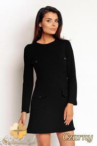 CM1987 Dresowa sukienka mini z kieszeniami z przodu - czarna - 2832076272