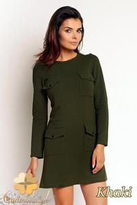 CM1987 Dresowa sukienka mini z kieszeniami z przodu - khaki - 2832076273