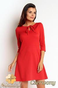 ef3940272e CM1997 Tapezowa sukienka z wiązaniem i rękawem 3 4 - czerwona - 2832076307