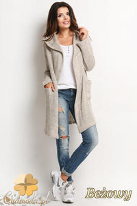 CM2022 Długi sweter płaszcz z kapturem i dwiema kieszonkami z przodu - beżowy - 2832076353
