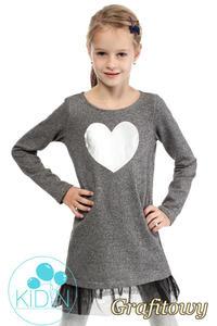 e5b0fab2d1 CM2032 Dzianinowa sukienka dziewczęca z tiulowym dołem - grafitowa -  2832076378