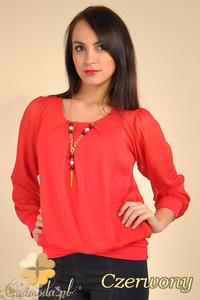 CM0175 Elegancka zwiewna szyfonowa bluzeczka - czerwona - 2832069990