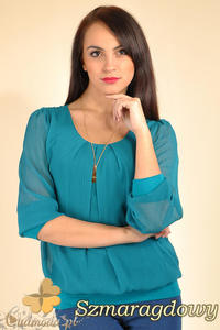 CM0175 Elegancka zwiewna szyfonowa bluzeczka - szmaragdowa - 2832069991