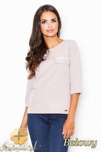 CM2086 Stylowa bluzka z zamkiem na piersi - beżowa - 2832076530