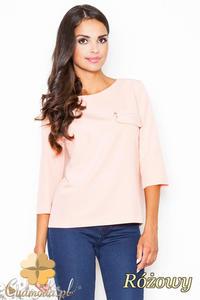 CM2086 Stylowa bluzka z zamkiem na piersi - różowa - 2832076533