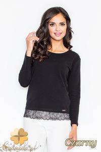 CM2113 Klasyczna bluzka damska z koronką - czarna - 2832076604