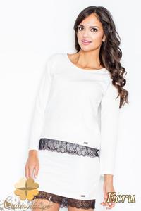 CM2113 Klasyczna bluzka damska z koronką - ecru - 2832076605