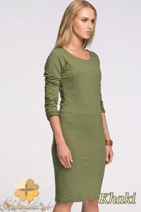 CM2130 Klasyczna sukienka ołówkowa z długim rękawem - khaki - 2832076658
