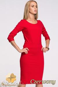 CM2130 Klasyczna sukienka ołówkowa z długim rękawem - czerwona - 2832076659
