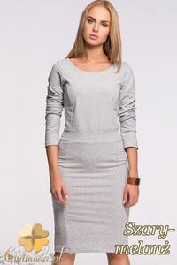 CM2130 Klasyczna sukienka ołówkowa z długim rękawem - szary-melanż - 2832076660