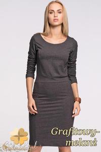 CM2130 Klasyczna sukienka ołówkowa z długim rękawem - grafitowy-melanż - 2832076661