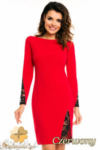 07a88140 Sklep: fashionata pl olowkowa sukienka z wstawkami czerwona 775
