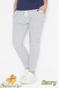 CM2144 Luźne dresowe spodnie z dużymi kieszeniami - szare - 2832076711