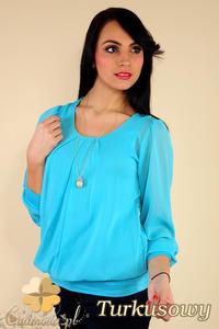 CM0175 Elegancka zwiewna szyfonowa bluzeczka - turkusowa - 2832070027