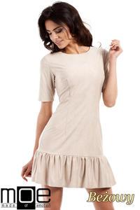 CM2224 Stylowa sukienka mini z falbanką - beżowa - 2832076935
