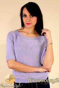 CM0184 Gładki damski sweterek nietoperz - wrzosowy 2 - 2832070045