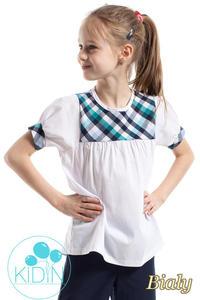 224a0660eb21da CM2261 Luźna bluzka z kratką i bufkami - biała KIDIN. Odzież dziecięca