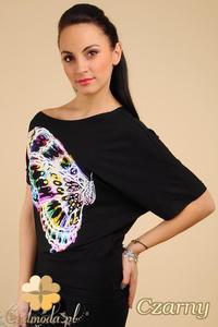 CM0193 Asymetryczna kobieca bluzeczka kimono nietoperz - czarna - 2832070063