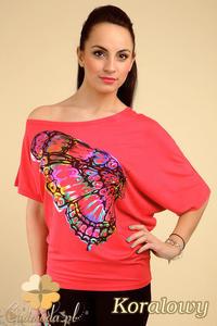 CM0193 Asymetryczna kobieca bluzeczka kimono nietoperz - koralowa - 2832070068