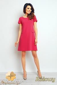 CM2377 Trapezowa sukienka biurowa do pracy - różowa - 2835693813
