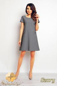 CM2377 Trapezowa sukienka biurowa do pracy - szara - 2835693814