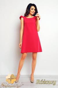 327590239c CM2389 Luźna sukienka trapezowa mini - różowa - 2835693849