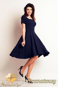 c61905c98b CM2397 Gustowna rozkloszowana sukienka z krótkim rękawem - granatowa -  2835693874