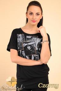 CM0194 Zmysłowa kobieca bluzka tunika kimono z nadrukiem - czarna - 2832070085