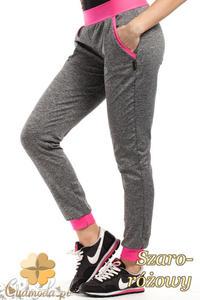 CM1853 Dresowe sportowe spodnie damskie - szaro-różowe - 2837575220